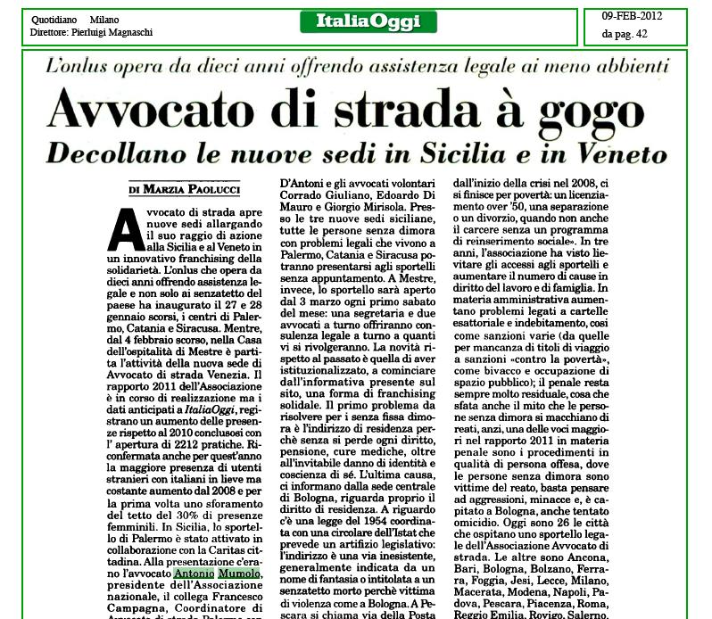 """Italia Oggi: """"Avvocato di strada a gogo. Decollano le nuove sedi in Sicilia e in Veneto"""""""