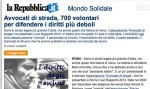 """la Repubblica: """"Avvocati di strada, 700 volontari per difendere i diritti più deboli"""""""