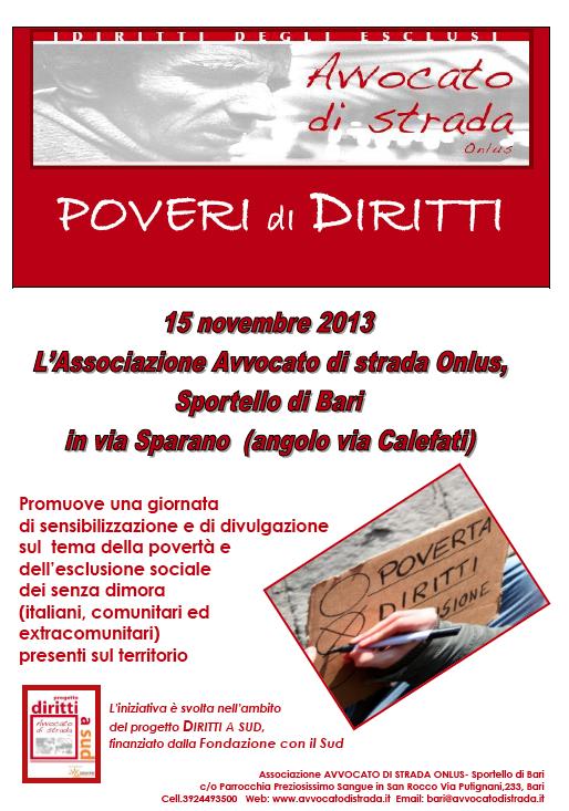 """15.11.13 """"Poveri di diritti"""", iniziativa pubblica a Bari"""