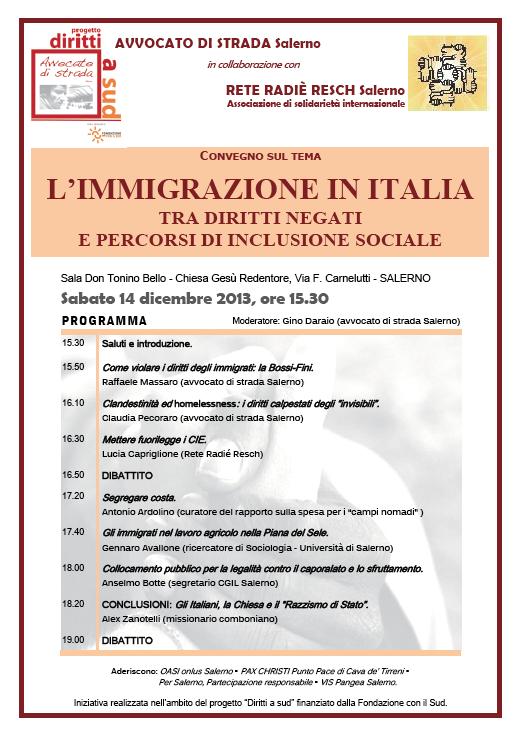 """14.12.13 A Salerno il convegno: """"L'immigrazione in Italia tra diritti negati e percorsi di inclusione sociale"""""""