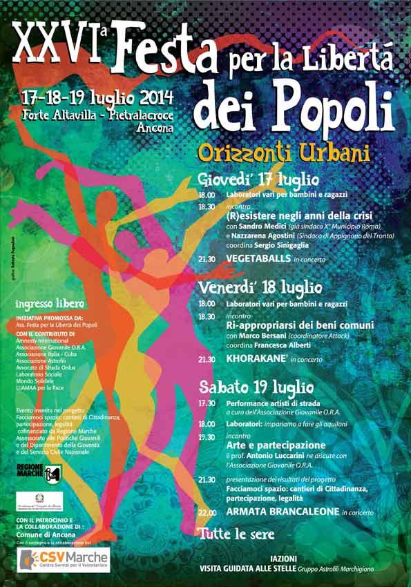 17/19 luglio. Ad Ancona la XXVI Edizione della Festa per la libertà dei popoli