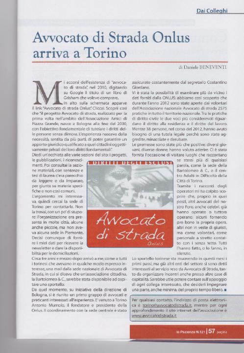 """La Pazienza: """"Avvocato di strada arriva a Torino"""""""