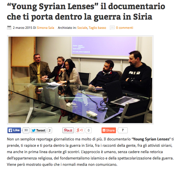 """Young Syrian Lenses"" il documentario che ti porta dentro la guerra in Siria"