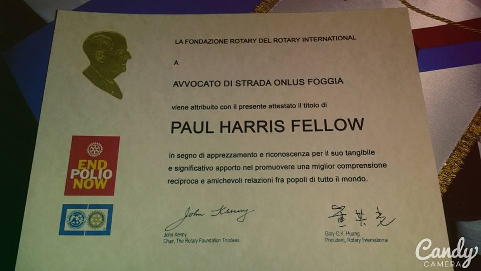 Il Premio Paul Harris Fellow 2015 ad Avvocato di strada Foggia