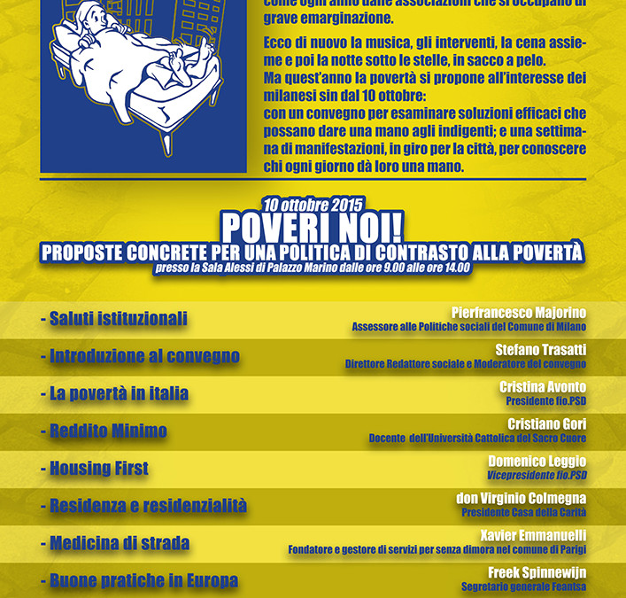 """Milano, 11/16 ottobre. """"Poveri noi, una settimana contro l'indigenza"""""""