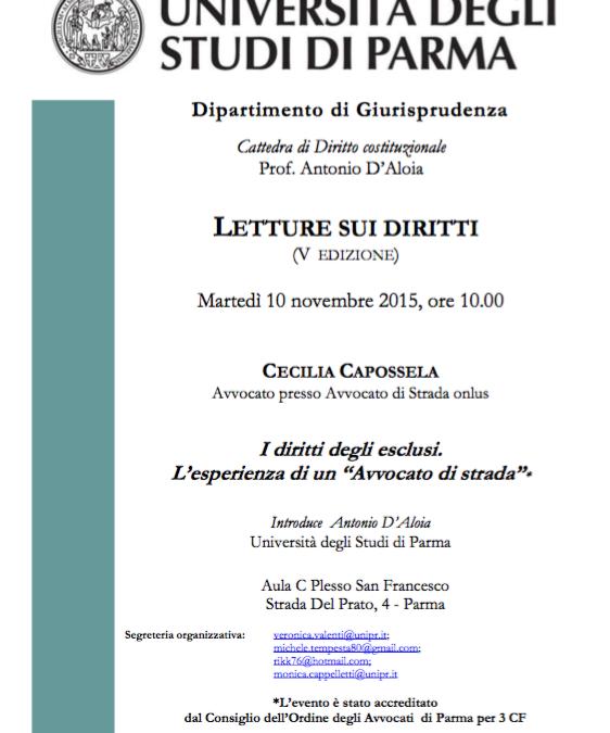 10.11.15 Università di Parma, L'esperienza di un 'Avvocato di strada'