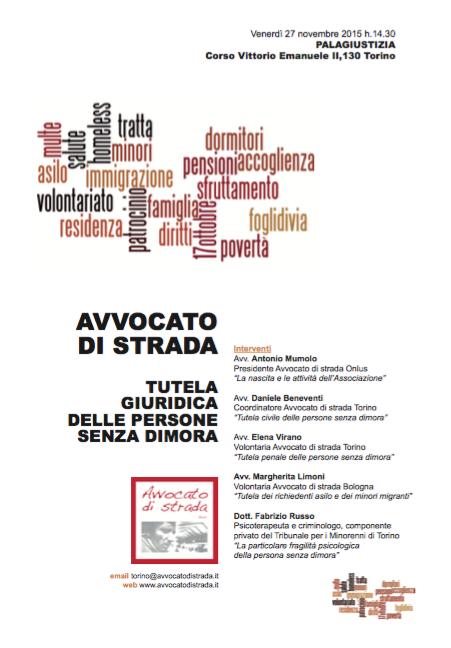 """27.11.15 Torino: """"Avvocato di strada e la tutela giuridica delle persone senza dimora"""""""
