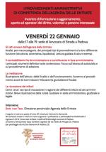 """22.01.16 Padova. Incontro di formazione su """"I provvedimenti amministrativi di competenza dell'Agenzia delle Entrate"""""""