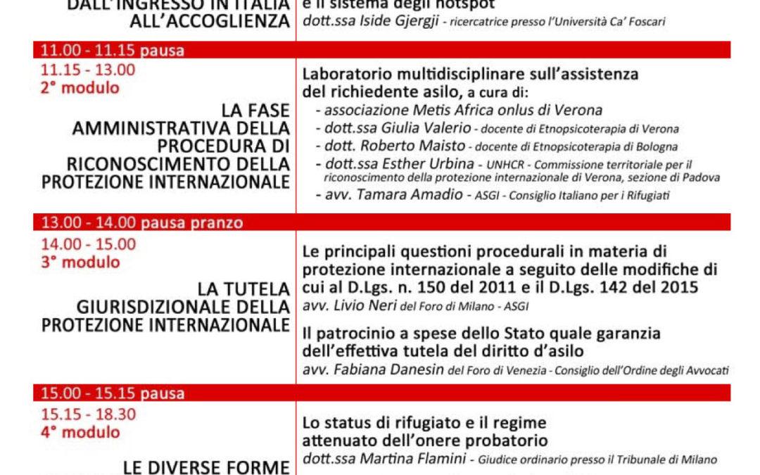 """26.02.16 Mestre: """"La protezione internazionale ed il sistema di accoglienza dei richiedenti asilo in Italia"""""""