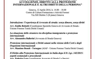 """12.04.16  Genova: """"Profughi, Migranti e Senza Dimora: tra accoglienza, diritto alla protezione internazionale e altri diritti della persona"""""""