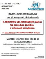 """19.04.16 Bologna: """"Il percorso del richiedente asilo"""""""