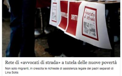"""Corriere Milano: """"Rete di avvocati di strada a tutela delle nuove povertà"""""""