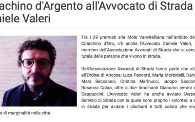 Ciriachino d'Argento all'Avvocato di strada Daniele Valeri