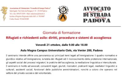 """21.10.16 Corso di formazione a Padova: """"Rifugiati e richiedenti asilo: diritti, procedure e sistemi di accoglienza"""""""
