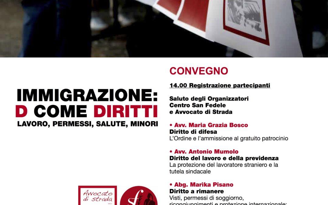 """25.05.17 Milano: """"Immigrazione: D come diritti"""""""