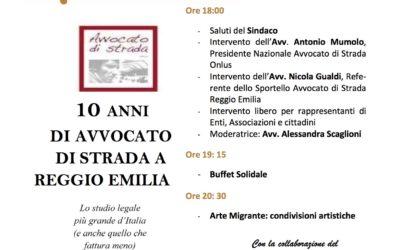 10 anni di Avvocato di strada Reggio Emilia