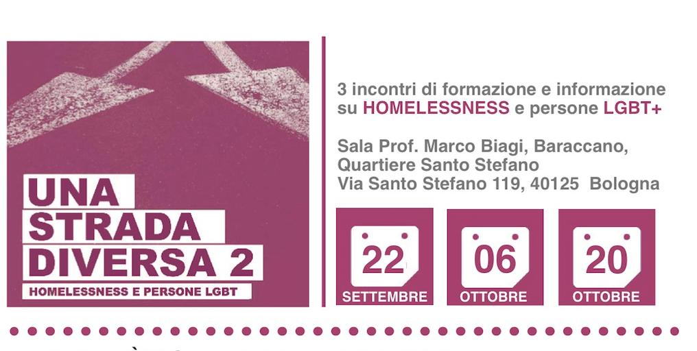 Bologna, 3 incontri di formazione e informazione su HOMELESSNESS e persone LGBT+