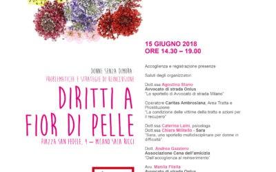 """Milano, 15.06.18, """"Diritti a fior di pelle. Donne senza dimora: problematiche e strategie di reinclusione"""""""