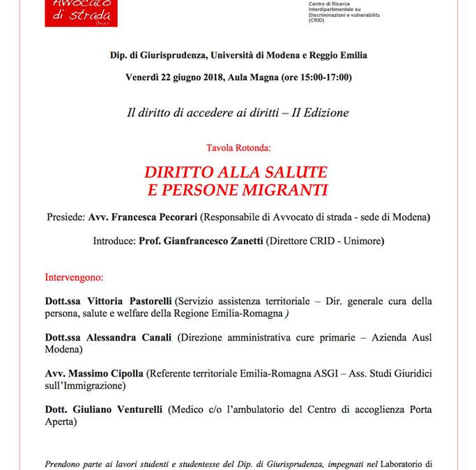 """22.06.18 Modena. Tavola rotonda """"Diritto alla salute e persone migranti"""""""