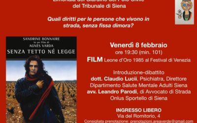 Proiezione a Siena del film Senza tetto né legge