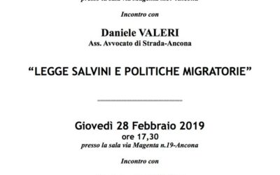 """Ancona, """"Decreto sicurezza e politiche migratorie"""""""