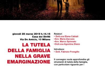 """28.03.19 Milano, """"La tutela della famiglia nella grave emarginazione"""""""