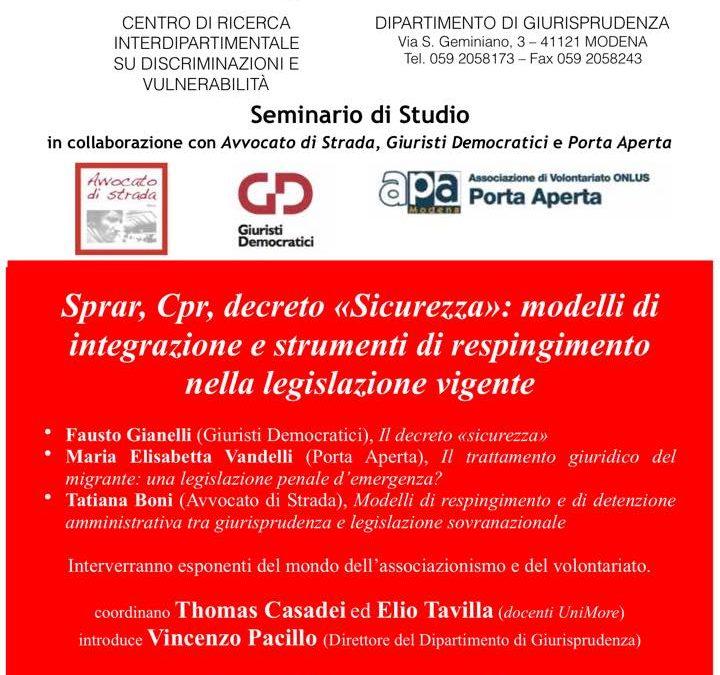 """25.03.19, Modena: """"Sprar, Cpr e """"decreto sicurezza"""""""""""