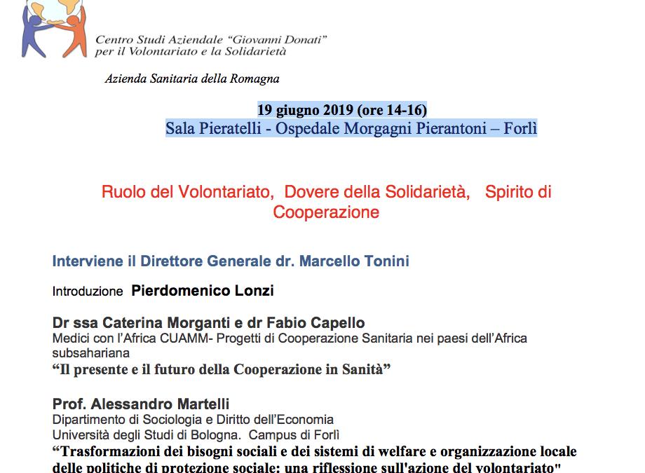 """Forlì, """"Ruolo del Volontariato, Dovere della Solidarietà, Spirito di Cooperazione"""""""