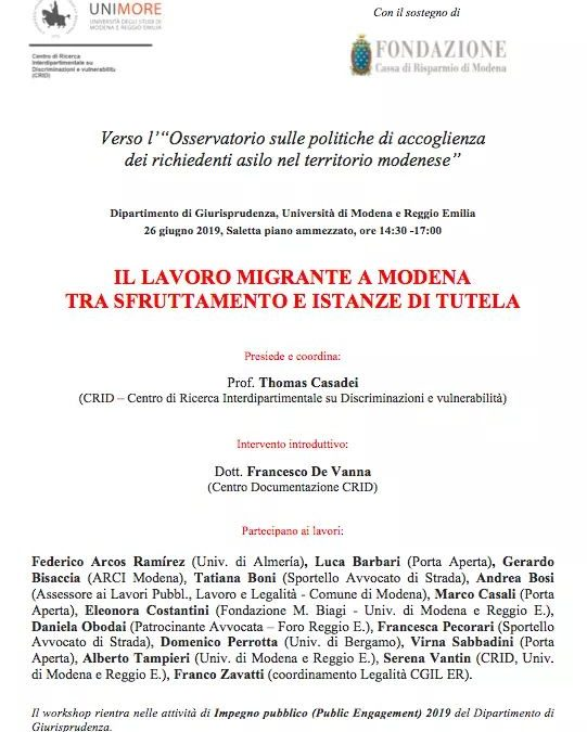 Il lavoro migrante a Modena tra sfruttamento e istanze di tutela