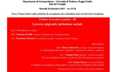 Lavoro, migranti, inclusione sociale