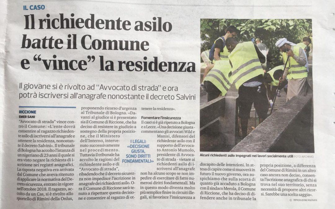Residenza anagrafica. A Rimini e Reggio Emilia altre tre vittorie contro il decreto Salvini