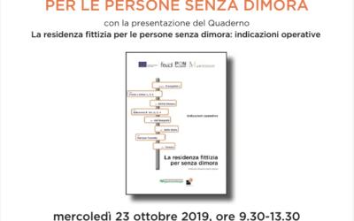 """23.10.19 Bologna, """"La residenza anagrafica per le persone senza dimora"""""""