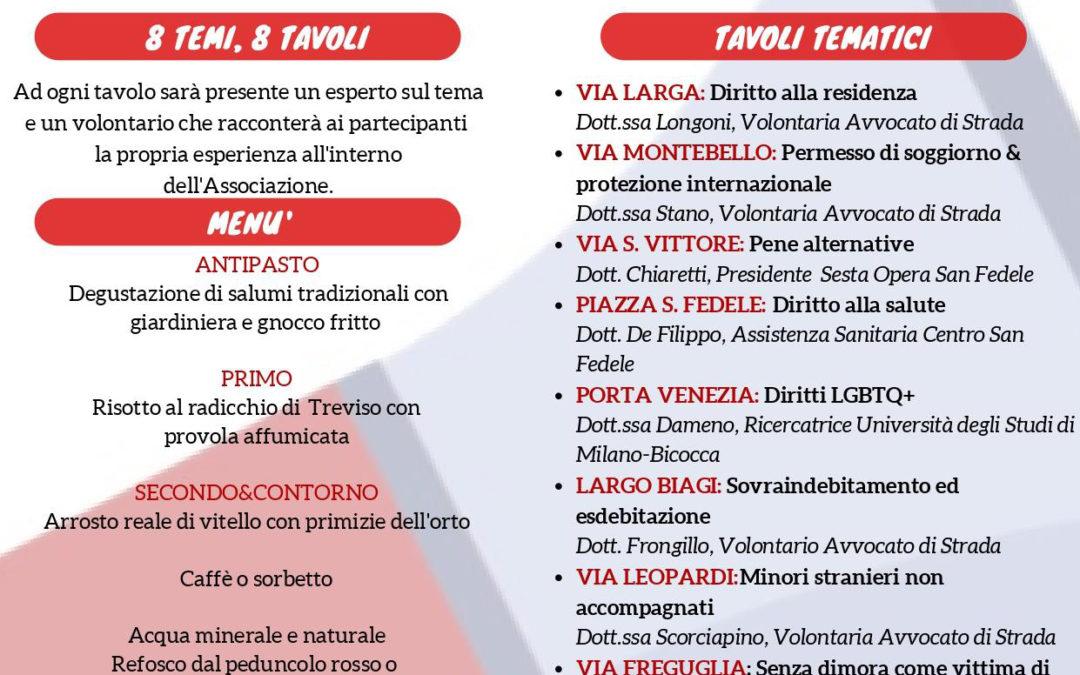 Milano, 25 ottobre | Cena dei diritti, a tavola con gli avvocati di strada