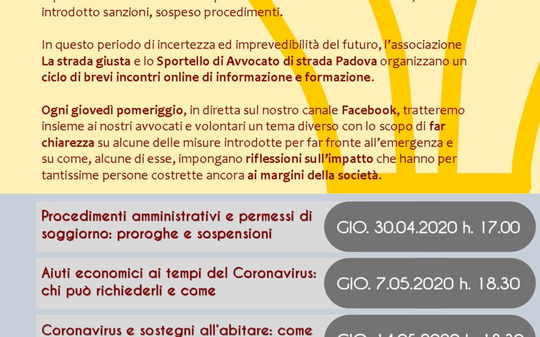 Web in law, un ciclo di webinar organizzato da Avvocato di strada Padova