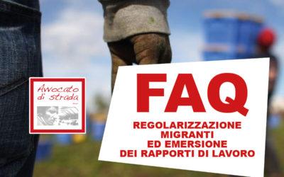 FAQ Regolarizzazione migranti ed emersione dei rapporti di lavoro