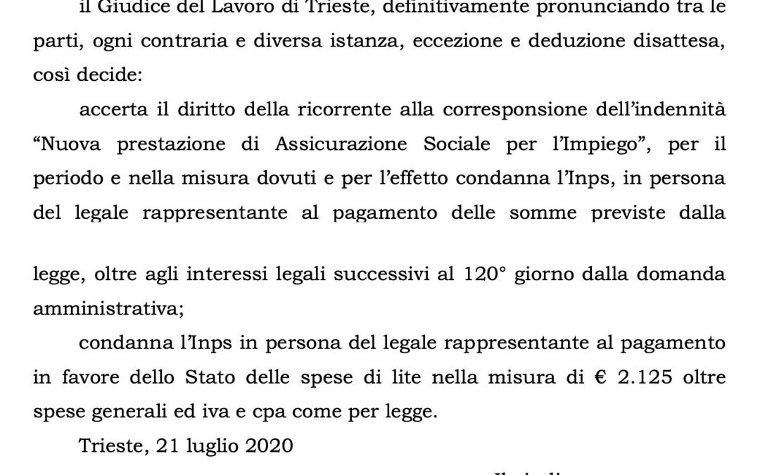 """Tribunale Trieste: """"Si ha diritto alla Naspi anche senza residenza"""""""